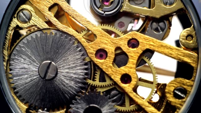 Mechanical drive watches, gears in the clock video