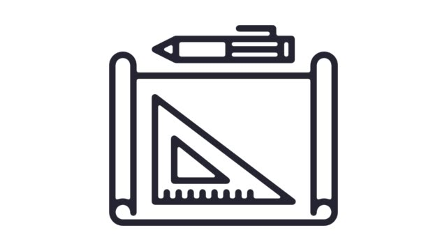 Mechanical Engineering Line Icon Animation with Alpha
