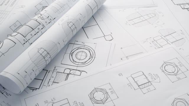 mechanics engineering drawings of bolts and nuts. - винт стоковые видео и кадры b-roll