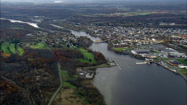 Mechanicville And Lock - Aerial View - New York,  Saratoga County,  United States video