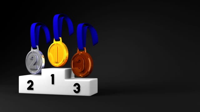 Medals And Podium On Black Text Space video