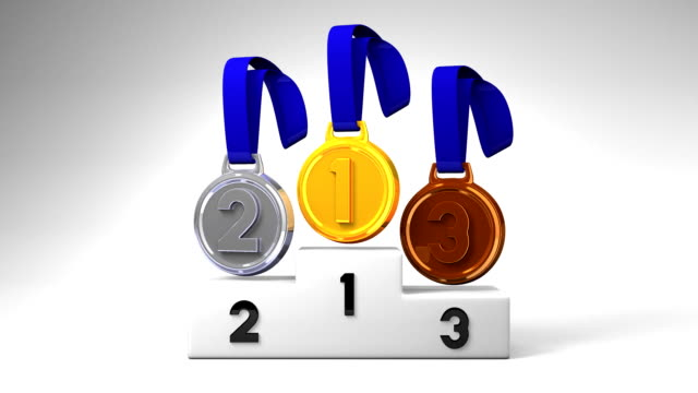 Medals And Podium On White Background video