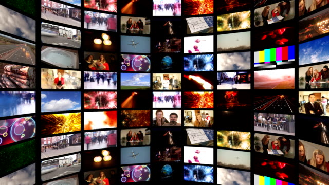 Media Bank of Screens HD A giant bank of media screens showing hundreds of video and film clips. A news broadcast or television station. Chromakey centre for adding your own material - great for transitions. multiple image stock videos & royalty-free footage