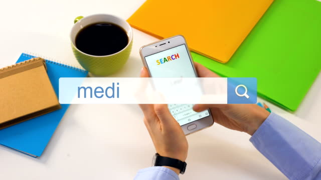 Medical advice search phrase written in bar on phone, harm of self diagnostics Medical advice search phrase written in bar on phone, harm of self diagnostics homepage stock videos & royalty-free footage
