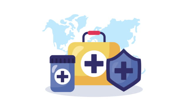 medical kit and medicine animation video