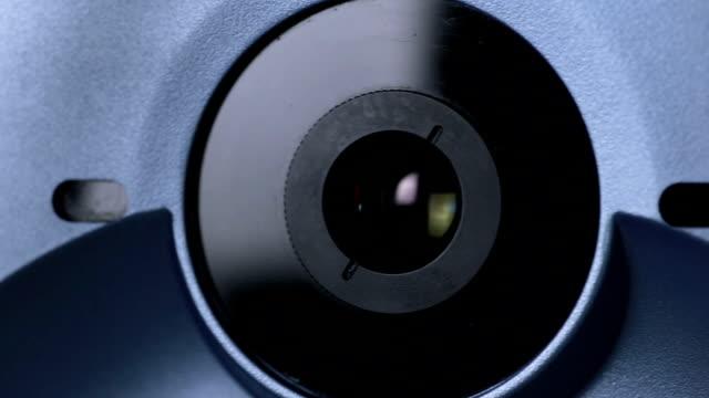 Medical machine examining eyeball. Eye examination test on a professional medical equipment screen video