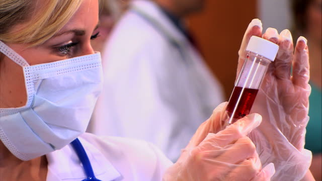 Medical Nurse studies blood sample video