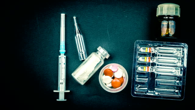 Medical objects still life seen from above video