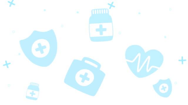 vídeos de stock, filmes e b-roll de animação de ícones de conjunto de padrões médicos - clip art
