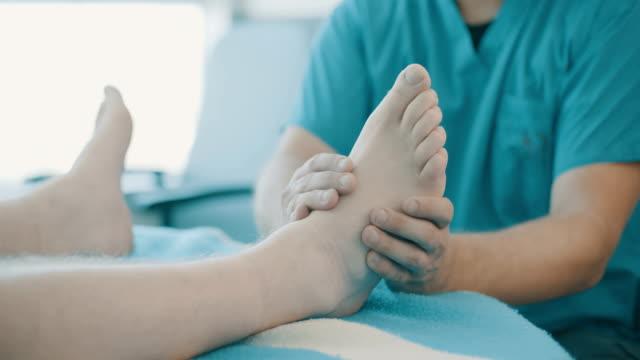 Medical reflexology treatment in a hospital video