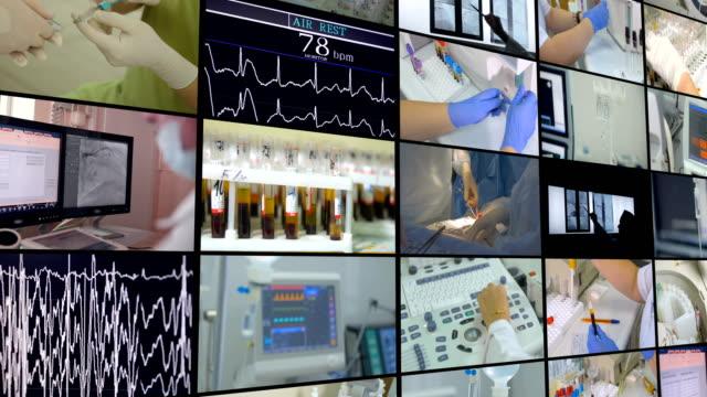stockvideo's en b-roll-footage met medische scène. video wall, multiscreen montage van medische footages. - filmmontage