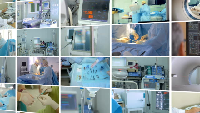 medical scene. video wall, multiscreen montage of medical footages. - montaggio in sequenza video stock e b–roll