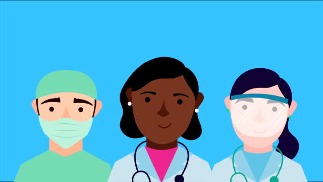 medical staff group characters animation video