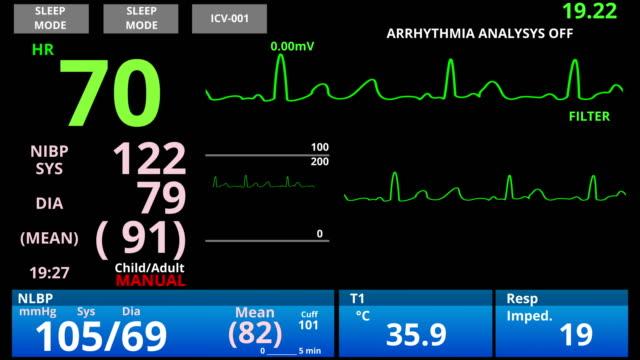 vídeos de stock e filmes b-roll de medical vital signs monitor, cardio sensor patient health condition diagnostic - coração humano