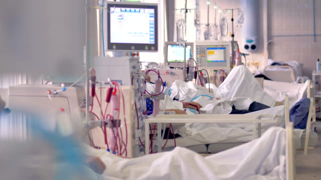 vídeos de stock, filmes e b-roll de uma enfermaria com pacientes em tratamento de diálise. - diálise