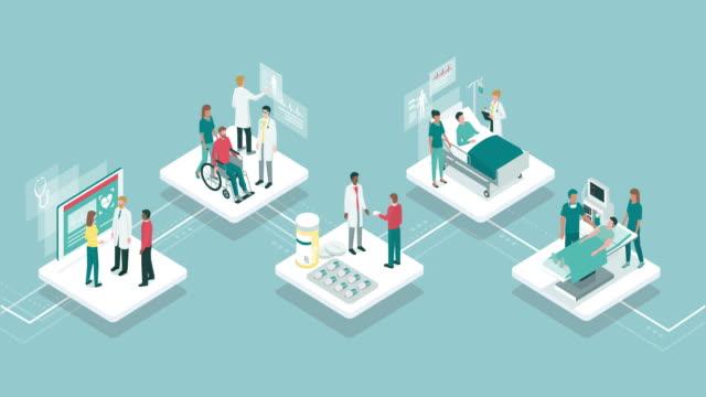 medicine and healthcare infographic - инфографика стоковые видео и кадры b-roll