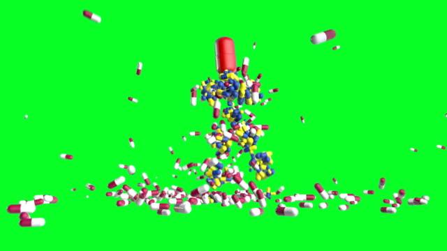 Medicine Pills Mannequin Dancing, against Green Screen