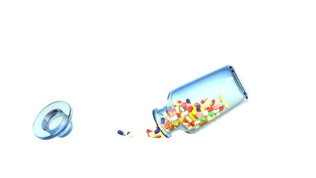 vídeos y material grabado en eventos de stock de medicina derramando frasco caen - recipiente para las píldoras