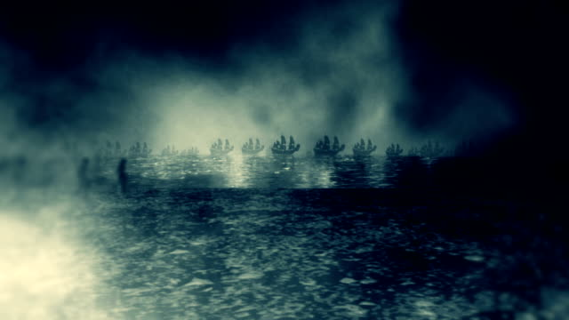 Medieval Army Marching to War Along with Battle Ships video