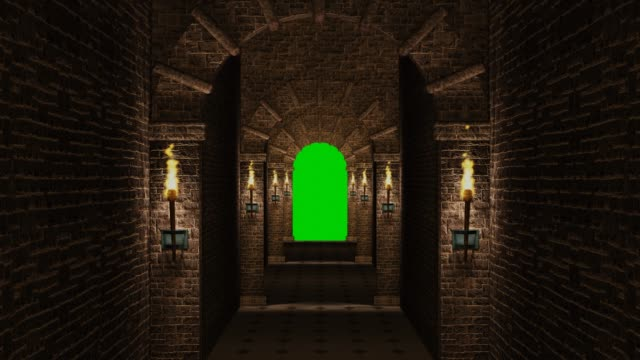 Medieval corridor with green screen