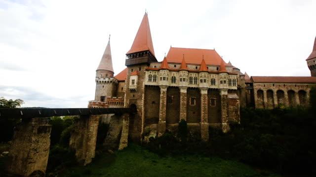 medieval Corvin Castle on elevated rock, Hunedoara video
