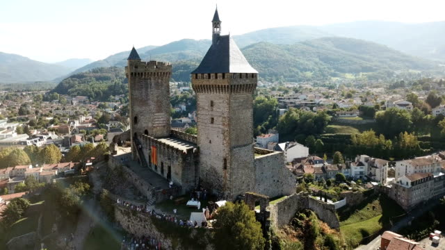 medieval fortress Chateau de Foix on hill, France