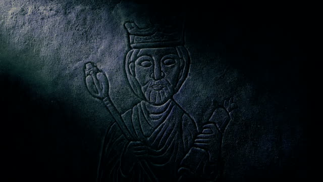 Medieval King Carving In Shaft Of Light video
