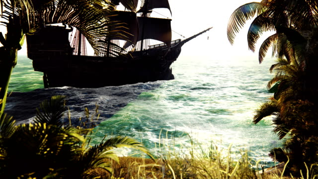 Medieval ship sails past the tropical island. The concept of sea adventures in the Middle ages. Beautiful looped animation.