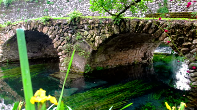 medieval stone bridge in eden colourful garden vibrant with roses and river