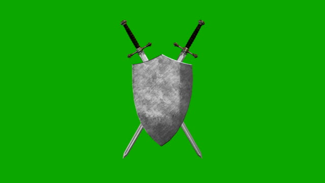 medieval sword and shield forming a symbol on a green screen background - sword стоковые видео и кадры b-roll
