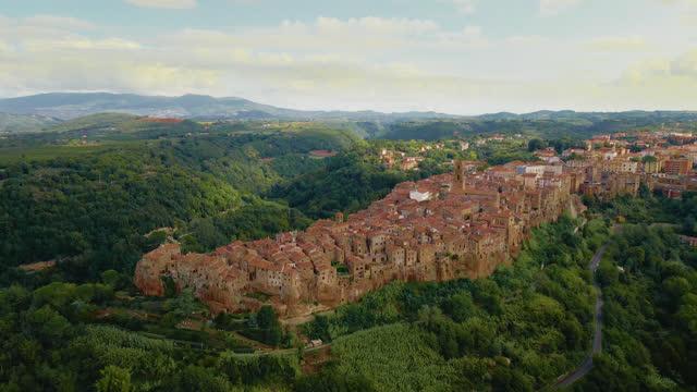 AERIAL Medieval town on top of plateau in Italy, Civita di Bagnoregio