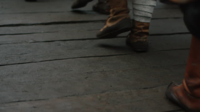 Medieval Viking Warriors Walking in a Line outwards Camera. Medieval Reenactment. video