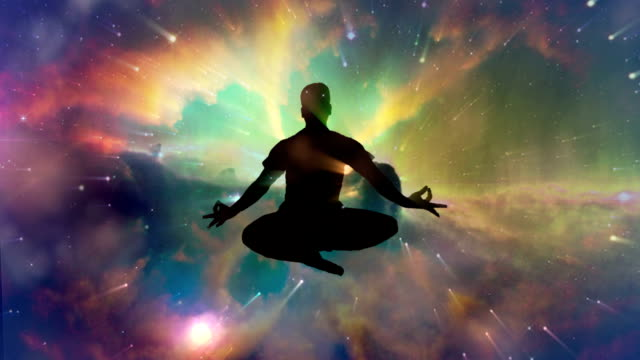 Meditating man enlightenment or meditation and universe video