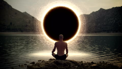 Meditating man opening gate to cosmic energy Spiritual Awareness. Man opening portal to other worlds. alertness stock videos & royalty-free footage