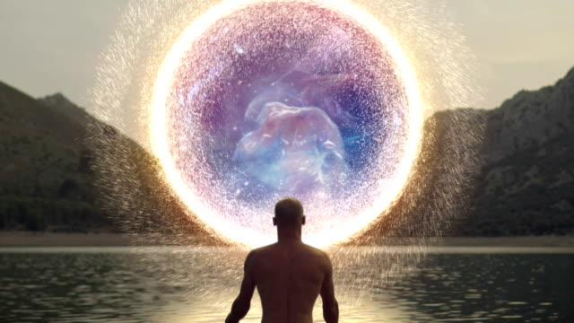 Meditating man opening portal to cosmic energy. Horshead Nebula Spiritual Awareness. Man opening portal to other galaxy. Horshead Nebula. Based on NASA images. environmental consciousness stock videos & royalty-free footage