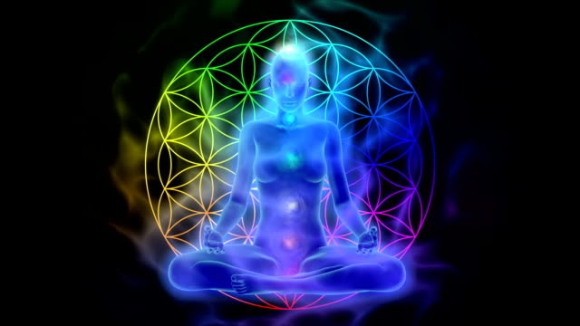 Meditation - aura, chakras, symbol flower of life video