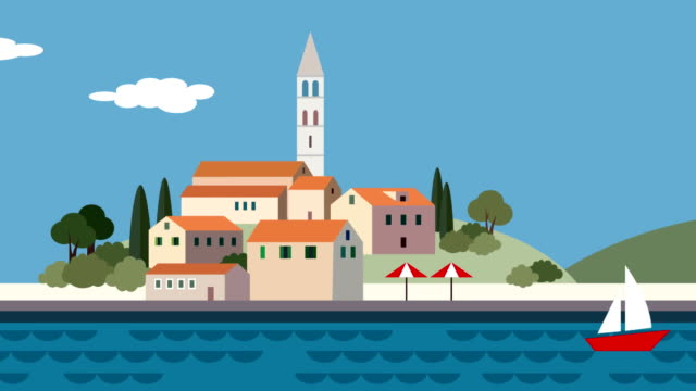 Mediterranean landscape, little town, resort with beach, sea waves, running clouds and sailing boat. Flat cartoon looped animated background. Summer traveling. Mediterranean landscape, little town, resort with beach, sea waves, running clouds and sailing boat. Flat cartoon looped animated background, summer traveling. recreational boat stock videos & royalty-free footage