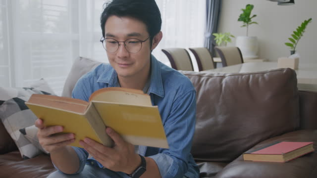 Medium shot POV Asian man reading a book in the living room. Adult male studying history on Analog book while sitting on a sofa. Learning, knowledge, education, relaxing in daily life activities