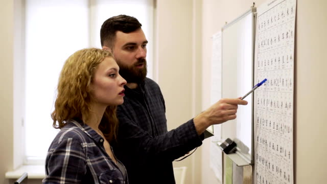 Medium shot of Guy and girl learn hieroglyphs in the office video