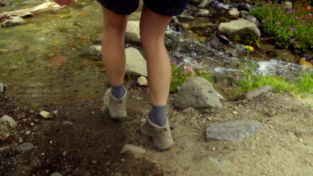 Medium shot of legs and feet crossing stream video