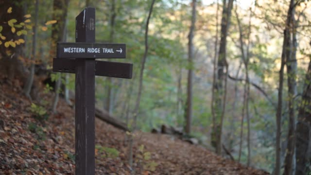 Medium shot of Western Ridge Trail sign, no people - Rock Creek Park - Washington, DC - Autumn