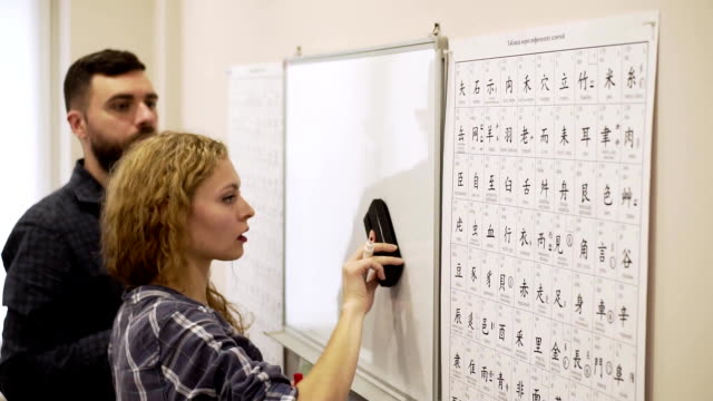 Medium shot of young man and a woman study the hieroglyphs in the classroom together video