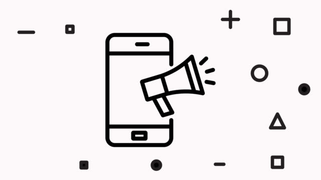 vídeos de stock e filmes b-roll de megaphone and mobile phone line icon animation - megafone