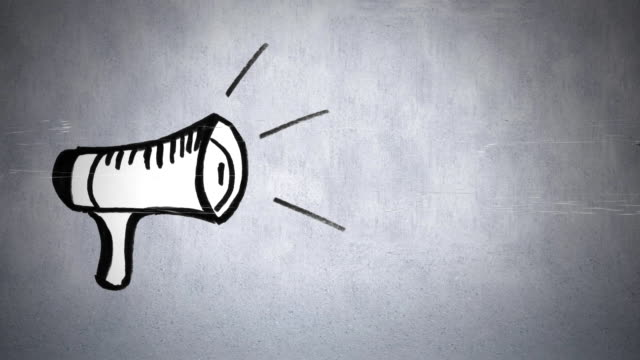 Megaphone drawing Digital animation of a monochrome drawing of a megaphone against a grey background megaphone stock videos & royalty-free footage