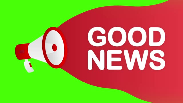 Megaphone GOOD NEWS countdown template with red objects on white background. Motion graphic.