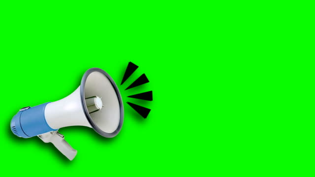 Megaphone video animation green screen. Attention,news,opening. white megaphone on colored background megaphone stock videos & royalty-free footage