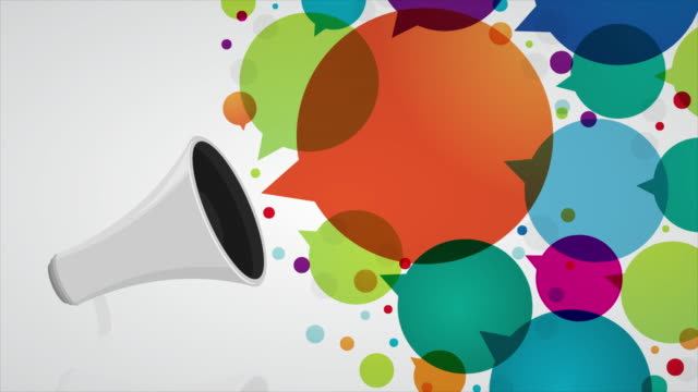 Megaphone with colourful speech bubbles Colourful bubbles are coming out from a megaphone on a white background megaphone stock videos & royalty-free footage