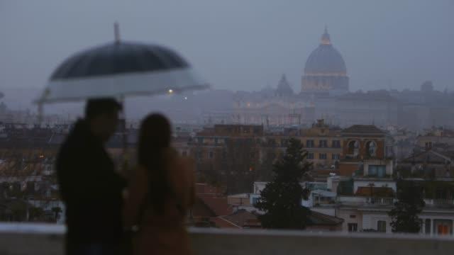 Melancholic Rome at sunset: rain in off peak season video