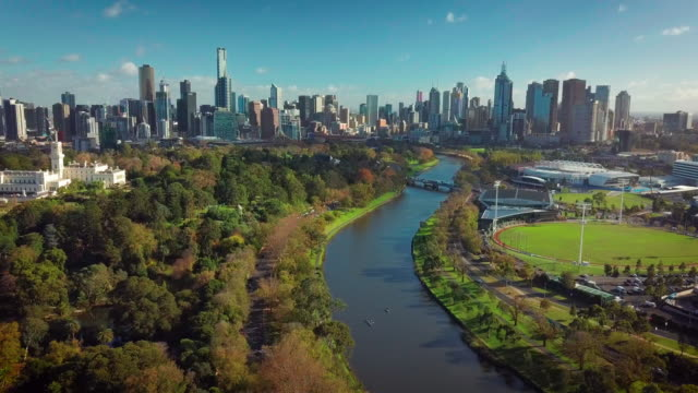 Melbourne city aerial view City skyline drone shot from above Yarra River australia stock videos & royalty-free footage