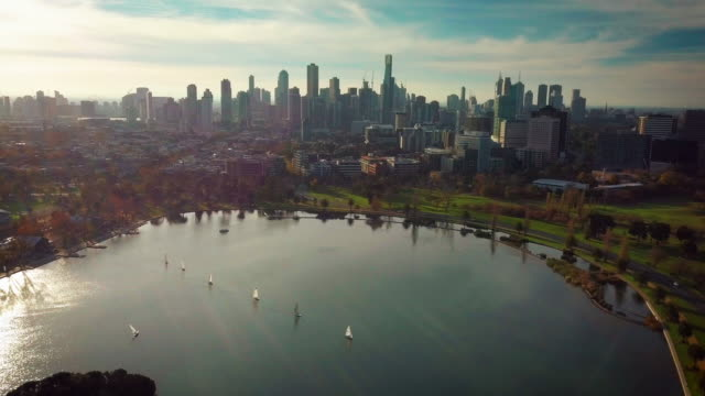 melbourne city aerial view - melbourne stock videos & royalty-free footage